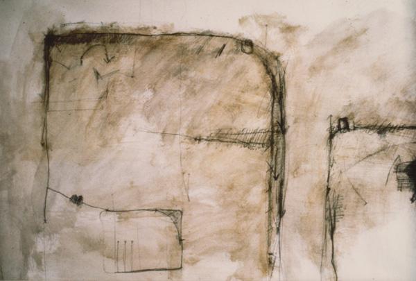 1983, Sans titre, papier marouflé sur bois, acrylique crayon, 0,75 X 1,15 m