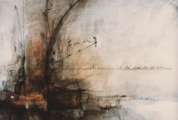 1983- Sans titre, papier marouflé sur bois, acrylique crayon, 0,77 X 1,05 m