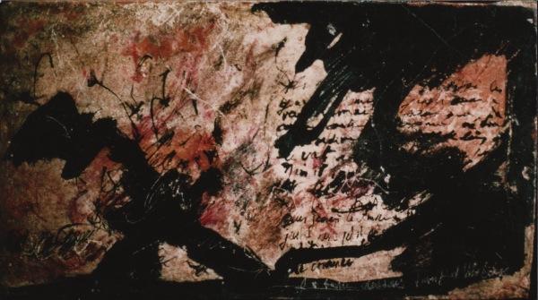 1992-Sans titre, brique, acrylique, encre, 0,22 x 0,40 m